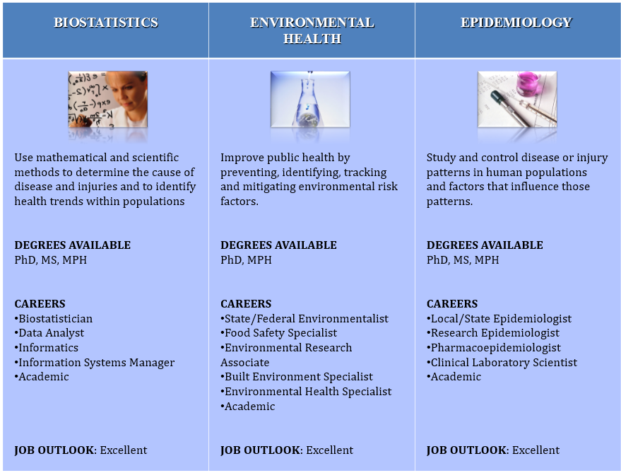 Image of public health interest areas: biostatistics, environmental health, epidemiology